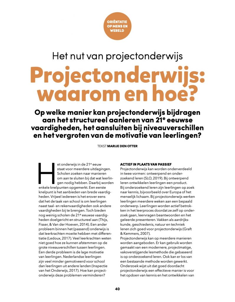 1Projectonderwijs Briljant artikel JSW waarom en hoe