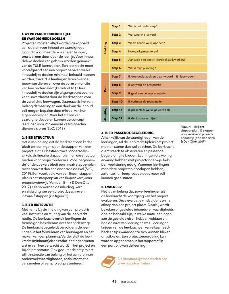 Projectonderwijs Briljant artikel JSW waarom en hoe