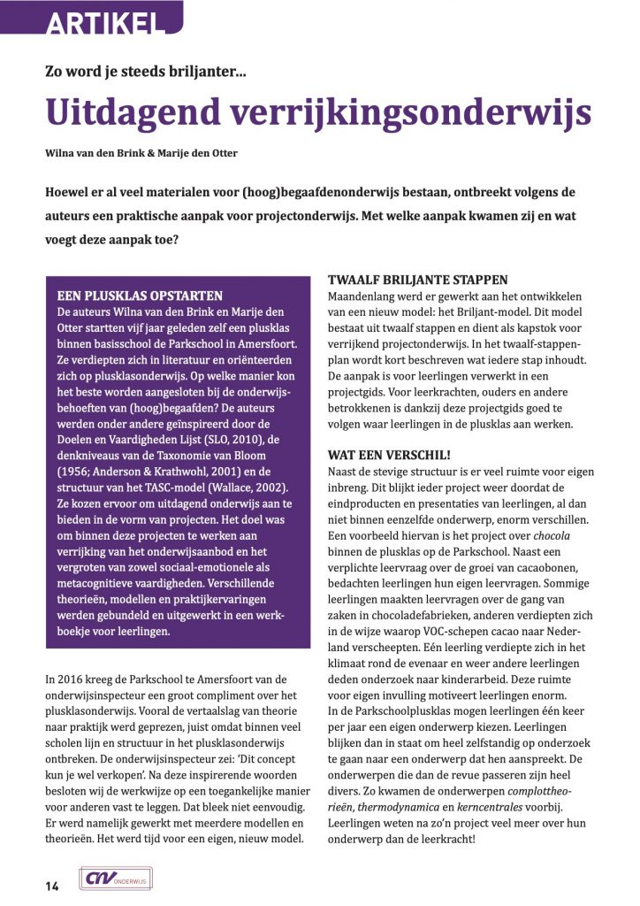Artikel Zorg Primar Briljant Verrijkend Projectonderwijs1